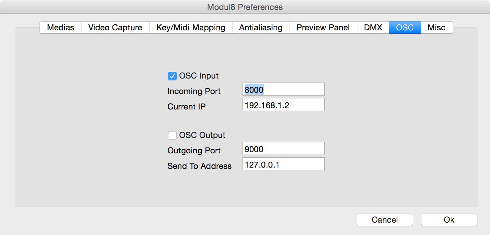 OSC Preferences in Modul8 2.9