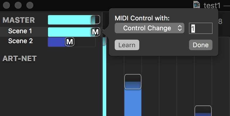 MIDI Learn in DMX Assistant