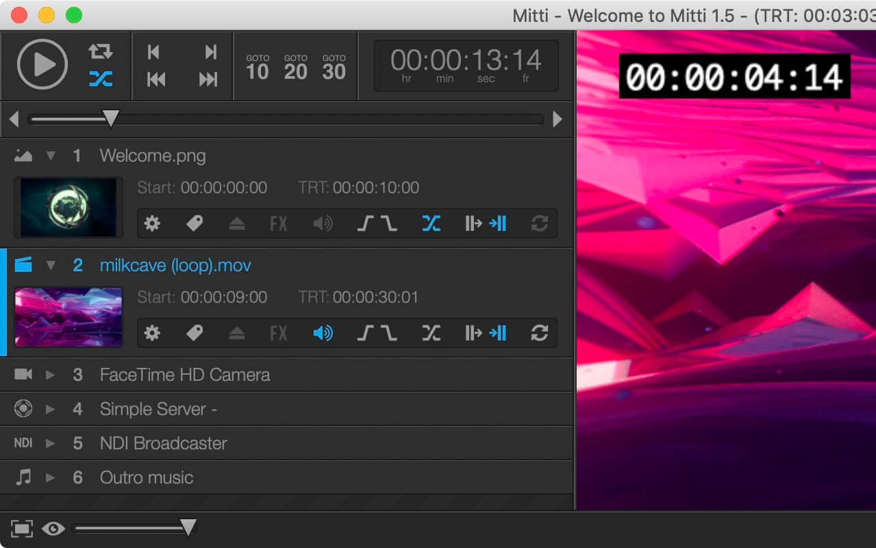 Mitti - Pro Video Cue Playback Software for events, theatre and